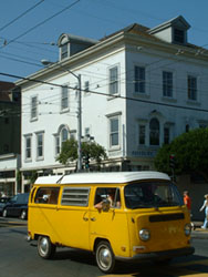 VW Bus at Corner of Haight and Ashbury, San Francisco, California